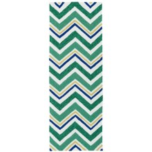 Kaleen Escape Chevron Indoor-Outdoor Floor Runner - 2x6' in Emerald - Closeouts
