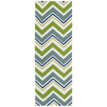 Kaleen Escape Chevron Indoor-Outdoor Floor Runner - 2x6' in Green - Closeouts