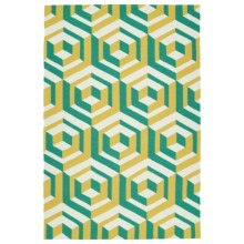 Kaleen Escape Geometric Indoor-Outdoor Accent Rug - 4x6' in Gold - Closeouts