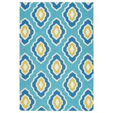 Kaleen Escape Geometric Indoor-Outdoor Accent Rug - 4x6' in Blue - Closeouts