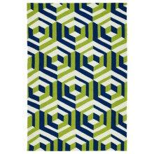 Kaleen Escape Geometric Indoor-Outdoor Accent Rug - 4x6' in Navy - Closeouts