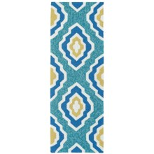 Kaleen Escape Geometric Indoor-Outdoor Floor Runner - 2x6' in Blue - Closeouts