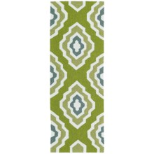 Kaleen Escape Geometric Indoor-Outdoor Floor Runner - 2x6' in Green - Closeouts