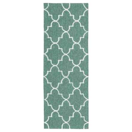 Kaleen Escape Geometric Indoor-Outdoor Floor Runner - 2x6' in Mint Moroccan - Closeouts