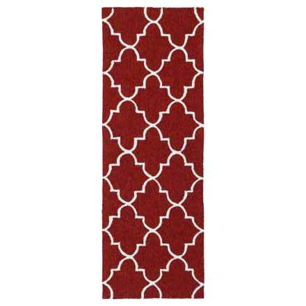 Kaleen Escape Geometric Indoor-Outdoor Floor Runner - 2x6' in Red Moroccan - Closeouts