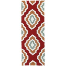 Kaleen Escape Geometric Indoor-Outdoor Floor Runner - 2x6' in Red - Closeouts
