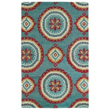 Kaleen Global Inspirations Accent Rug - 2x3', Hand-Tufted Wool in Teal/Brick Red/Ivory - Overstock