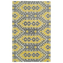 Kaleen Global Inspirations Accent Rug - 2x3', Hand-Tufted Wool in Yellow/Grey/Ivory - Overstock