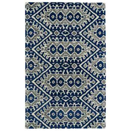 "Kaleen Global Inspirations Area Rug - 5'x7'9"", Hand-Tufted Wool in Blue/Grey/Ivory - Overstock"
