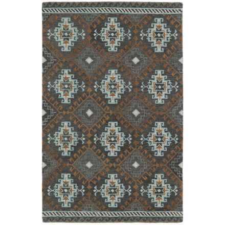 "Kaleen Global Inspirations Area Rug - 5'x7'9"", Hand-Tufted Wool in Grey/Sky Blue/Ivory - Overstock"