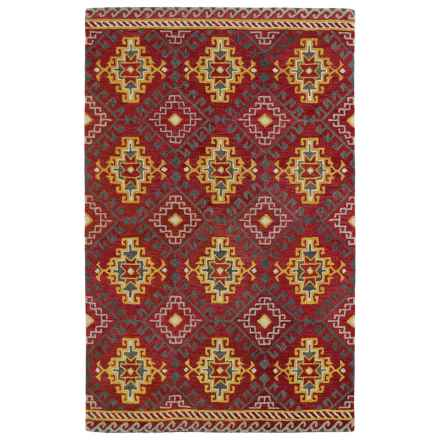 """Kaleen Global Inspirations Area Rug - 5'x7'9"""", Hand-Tufted Wool in Red/Gold/Light Brown - Overstock"""