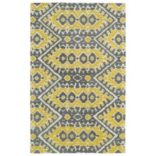 """Kaleen Global Inspirations Area Rug - 5'x7'9"""", Hand-Tufted Wool in Yellow/Grey/Ivory - Overstock"""