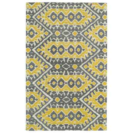 "Kaleen Global Inspirations Area Rug - 5'x7'9"", Hand-Tufted Wool in Yellow/Grey/Ivory - Overstock"