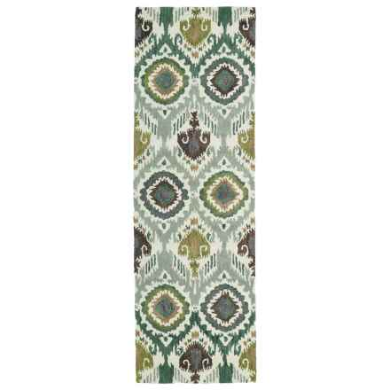 "Kaleen Global Inspirations Floor Runner - 2'6""x8', Hand-Tufted Wool in Green - Overstock"