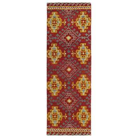 "Kaleen Global Inspirations Floor Runner - 2'6""x8', Hand-Tufted Wool in Red/Gold/Grey - Overstock"