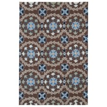 Kaleen Home & Porch Collection Indoor-Outdoor Accent Rug - 3x5' in Round Blue Medallion - Closeouts