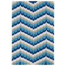 Kaleen Home & Porch Collection Indoor-Outdoor Accent Rug - 3x5' in Blue Wave - Closeouts