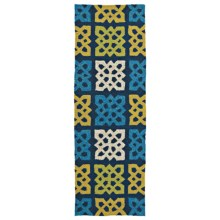 Kaleen Home & Porch Collection Indoor-Outdoor Floor Runner - 2x6' in Square Blue Medallion - Overstock