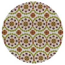 "Kaleen Home & Porch Collection Indoor/Outdoor Area Rug - 5'9"" Round in Round Brown Medallion - Overstock"
