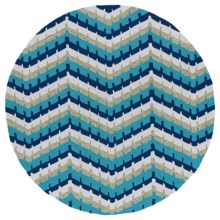 "Kaleen Home & Porch Collection Indoor/Outdoor Area Rug - 5'9"" Round in Blue Wave - Overstock"