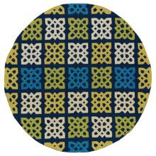 "Kaleen Home & Porch Collection Indoor/Outdoor Area Rug - 5'9"" Round in Square Blue Medallion - Overstock"