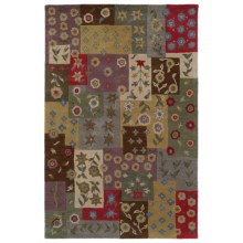 Kaleen Khazana Collection Accent Rug - Wool, 2x3' in Patchwork Ivory - Closeouts