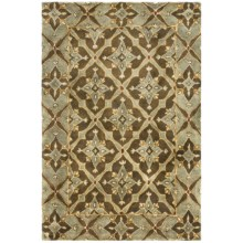 "Kaleen Maharaja Garden Area Rug - Handcrafted Virgin Wool, 5'x7'9"" in Glacier - Closeouts"