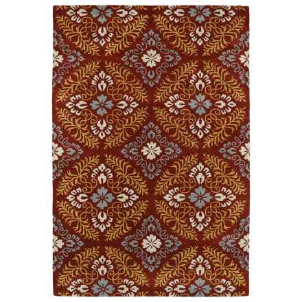 Kaleen Melange Accent Rug - 3x5', Hand-Tufted Wool in Red/Slate Blue/Gold/Light Taupe - Overstock