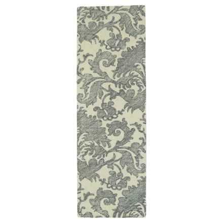 "Kaleen Montage Runner Rug - Wool, 2'6""x8' in Grey - Closeouts"