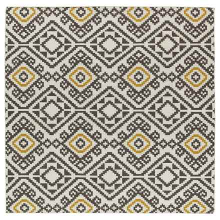Kaleen Nomad Wool Area Rug - 8x8' in Black Mosaic - Closeouts