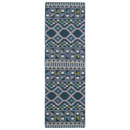 "Kaleen Nomad Wool Floor Runner - 2'6""x8' in Blue - Closeouts"