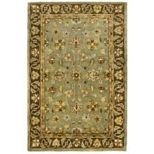 "Kaleen Queens Garden Rug - Handcrafted Virgin Wool, 3'6""x5'3"" in Blue - Closeouts"