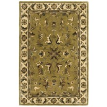 "Kaleen Royal Garden Rug - Handcrafted Virgin Wool, 3'6""x5'3"" in Moss - Closeouts"
