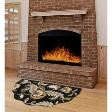 "Kaleen Scalloped Hearth Rug - Wool, 27x48"" in Black - Overstock"