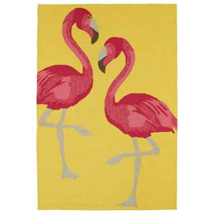Kaleen Sea Isle Collection Indoor-Outdoor Accent Rug - 2x3' in Yellow Flamingo - Overstock