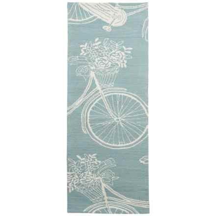 Kaleen Sea Isle Collection Indoor-Outdoor Floor Runner - 2x6' in Light Blue Bike - Overstock