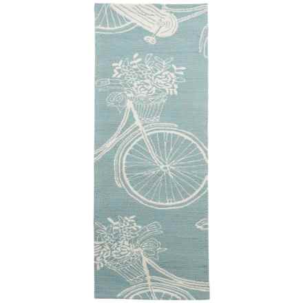 Kaleen Sea Isle Collection Indoor-Outdoor Runner Rug - 2x6' in Light Blue Bike - Overstock