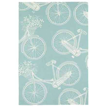 Kaleen Sea Isle Collection Indoor/Outdoor Rug - 3x5' in Light Blue Bike - Closeouts
