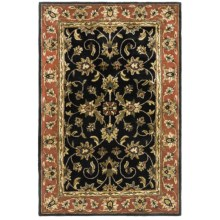 "Kaleen Secret Garden Area Rug - Handcrafted Virgin Wool, 3'6""x5'6"" in Black - Closeouts"