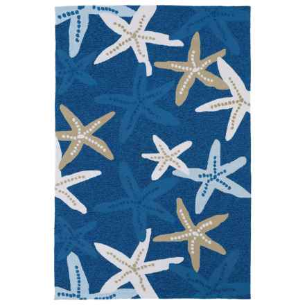 "Kaleen Starfish Indoor-Outdoor Area Rug - 5'x7'6"" in Blue - Closeouts"