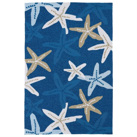 "Kaleen Starfish Indoor-Outdoor Area Rug - 7'6""x9' in Blue"