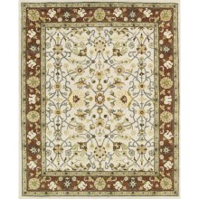 "Kaleen Taj Collection Area Rug - 5x7'9"", Hand-Tufted Wool in Ivory - Closeouts"