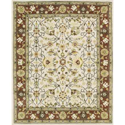 """Kaleen Taj Collection Area Rug - 5x7'9"""", Hand-Tufted Wool in Ivory - Closeouts"""