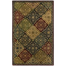 "Kaleen Taj Garden Area Rug - Handcrafted Wool, 3'6""x5'3"" in Red - Closeouts"