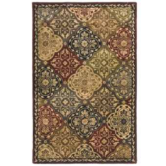 "Kaleen Taj Garden Fine Wool Area Rug - 5'x7'9"" in Red"