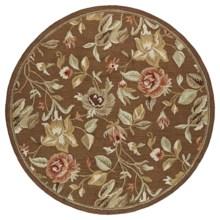 "Kaleen Tara Ridolfo Hand-Tufted Wool Pile Area Rug - 9'9"" Diameter, Round in Chocolate - Closeouts"