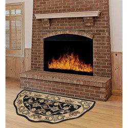 """Kaleen Traditional Scalloped Hearth Rug - 27x48"""" in Black/Gold"""