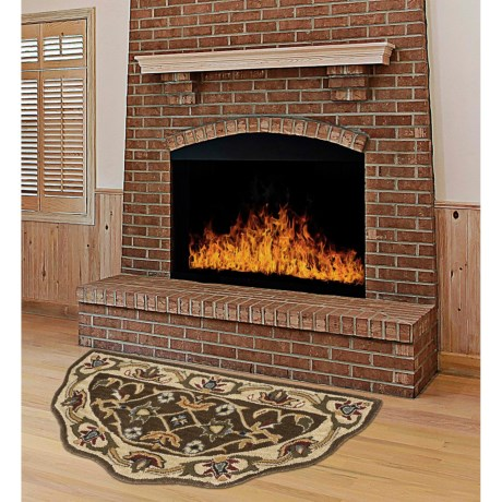 "Kaleen Traditional Scalloped Hearth Rug - 27x48"" in Brown/Gold"