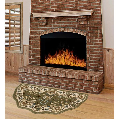 """Kaleen Traditional Scalloped Hearth Rug - 27x48"""" in Green/Ivory"""
