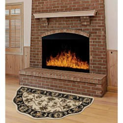"Kaleen Traditional Scalloped Hearth Rug - 27x48"" in Ivory/Black"